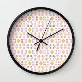 Modern Pastel Geometric Quilt Design Wall Clock