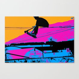 Tail Grabbing High Flying Scooter Canvas Print
