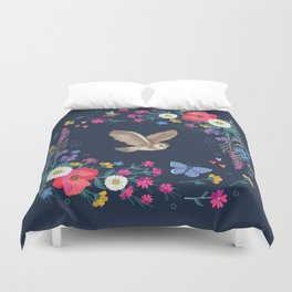 Owl and Wildflowers Duvet Cover