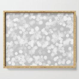 Christmas Snowflakes Bokeh Silver Pattern Serving Tray