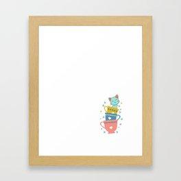 Coffee Wakes Me Up Kitties Keep Me Going T-Shirt Framed Art Print