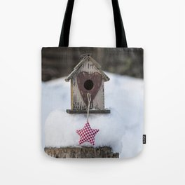Let it snow Birdhouse and Christmas star Tote Bag