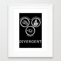 divergent Framed Art Prints featuring Divergent (White) by Lunil