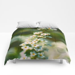 Bokeh White Floral Flowers Charming Lily White Blossoms Green Leaves Comforters