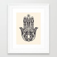 hamsa Framed Art Prints featuring Hamsa by Hannah Gordon