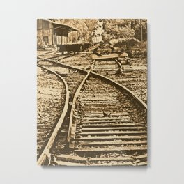 Abandoned Rail Tracks-Wild West Metal Print