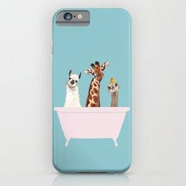 Playful Gangs in Bathtub Blue iPhone Case