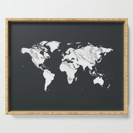 Marble World Map in Black and White Serving Tray