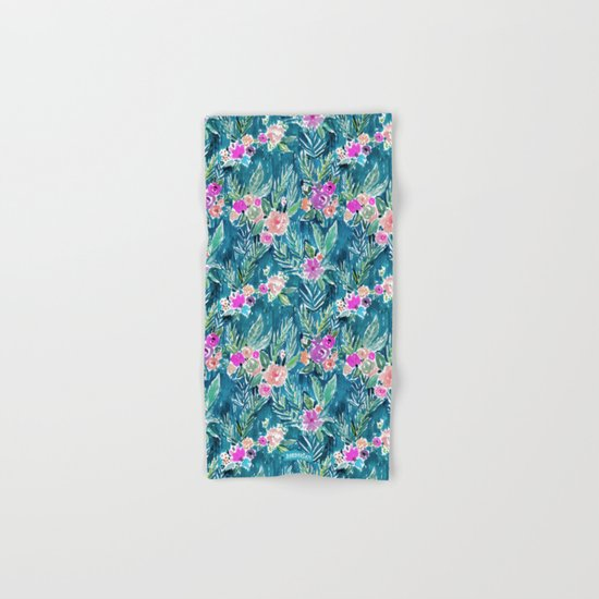 NAVY PARADISE FLORAL Tropical Hibiscus Palm Pattern Hand & Bath Towel
