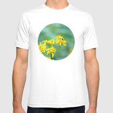 Bee Happy Mens Fitted Tee MEDIUM White