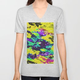 psychedelic splash painting abstract texture in yellow blue green purple Unisex V-Neck
