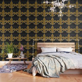Black and Gold Fleur De Lis Wallpaper
