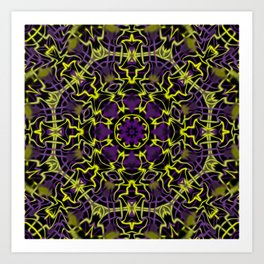 Purple Yellow and Black Kaleidoscope Art Print