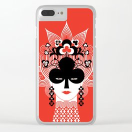 The Queen of clubs Clear iPhone Case