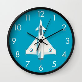 Eurofighter Typhoon Jet Fighter Aircraft - Cyan Wall Clock