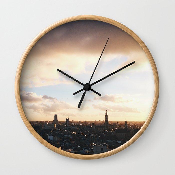 City Sunset & Skyscrapers Wall Clock