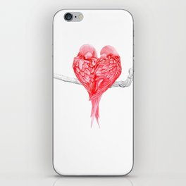 Red Heart Birds Love iPhone Skin