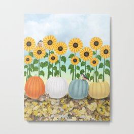 chipmunk, red breasted nuthatches, heirloom pumpkins, & sunflowers Metal Print