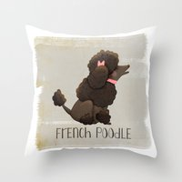 poodle Throw Pillows featuring Poodle by 52 Dogs
