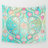 peach Wall Tapestries featuring Floral Moroccan in Spring Pastels - Aqua, Pink, Mint & Peach by micklyn
