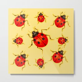 CREAMY YELLOW ART  RED LADY BUGS  DESIGN Metal Print