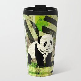Panda Cub  Abstract vintage pop art composition Travel Mug