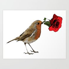 Bird & Rose Art Print