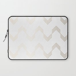 Simply Deconstructed Chevron White Gold Sands on White Laptop Sleeve