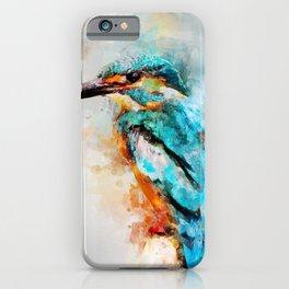 Watercolor kingfisher bird iPhone Case
