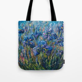 Countryside Irises Oil painting with palette knife Tote Bag
