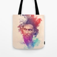 true detective Tote Bags featuring True Detective by Pepe Psyche