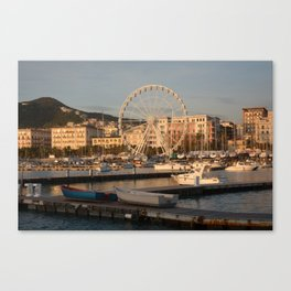 Italy : Ferris wheel for the Luci d'Artista 2018, Christmas lights show in Salerno, December 2018 Canvas Print