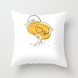 Chick Chicken - One Line Drawing Throw Pillow