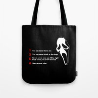 randy c Tote Bags featuring Scream: Randy´s rules by dutyfreak