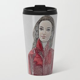 Woman in Red Leather Travel Mug