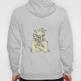 Crazy Court Jester Straitjacket Drawing Hoody