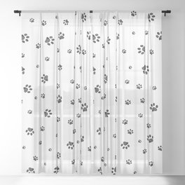 Trace black doodle paw prints Sheer Curtain