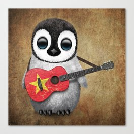 Baby Penguin Playing Vietnamese Flag Guitar Canvas Print