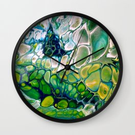 Green Abstract - Fluid Acrylic Unique pour Wall Clock