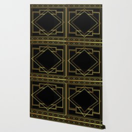 art deco gatsby black and gold lines geometric pattern Wallpaper