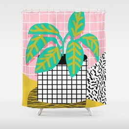 Get Real - potted plant throwback retro neon 1980s style art print minimal abstract grid lines shape Shower Curtain