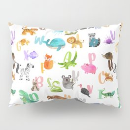 Cute Watercolor Animal Alphabet Pattern Pillow Sham
