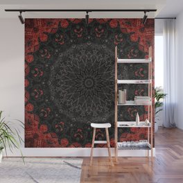 Red and Black Bohemian Mandala Design Wall Mural
