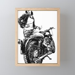 Woman Motorcycle Rider Framed Mini Art Print