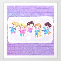 shinee Art Prints featuring SHINee Sleepover by sophillustration