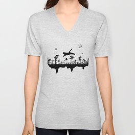 The Cat and Ink drop bombs Unisex V-Neck