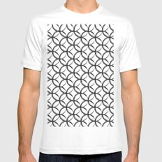 Brushed Circles White Mens Fitted Tee MEDIUM