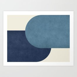 Halfmoon Colorblock - Blue Art Print