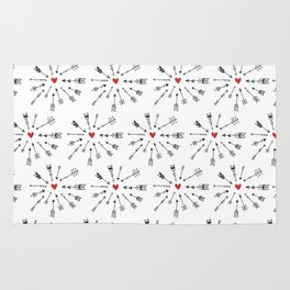 Hand painted abstract black red boho feathers pattern Rug