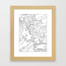 Downtown (Orange and Blue Towers) Framed Art Print